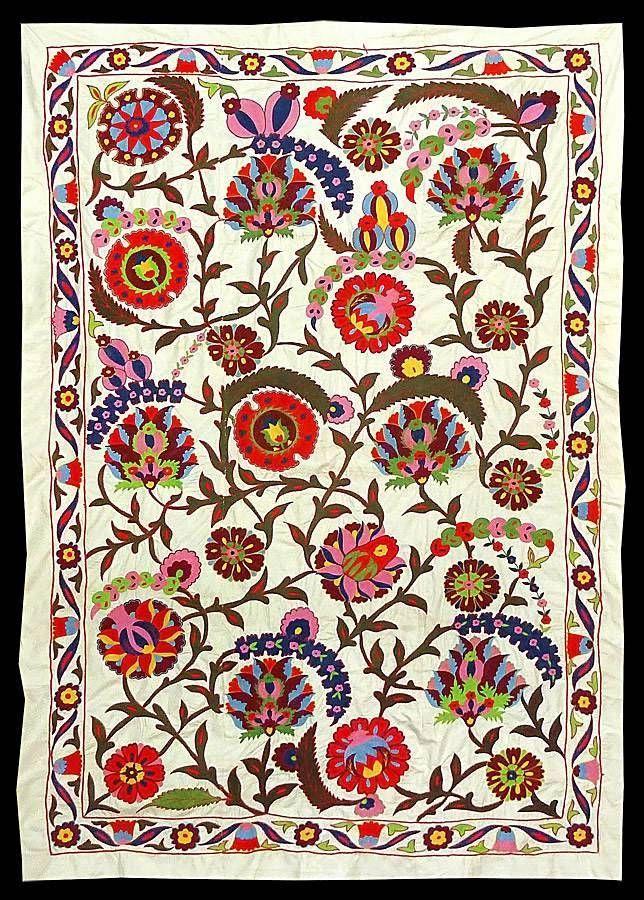 Gorgeous Large UZBEK Ottoman Silk Handmade Embroidery SUZANI A3896 | eBay
