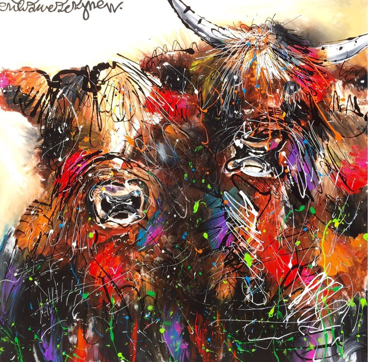 """Highland cows"" 120 x 120 cm. www.erikzwezerijnen.com"