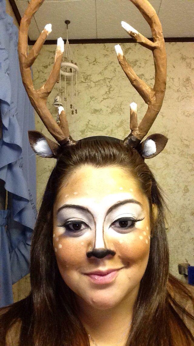 Deer Halloween makeup homemade antlers