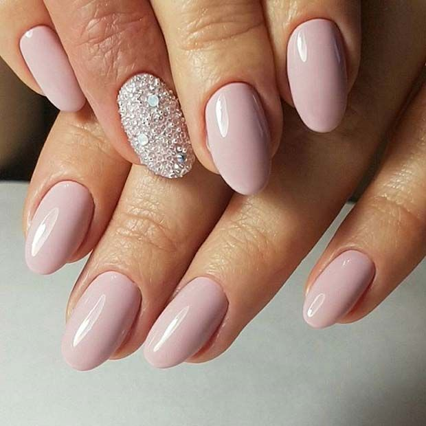 Pink Manicure with Sparkly Accent Nail for Elegant Nail Designs for Short Nails - https://www.luxury.guugles.com/pink-manicure-with-sparkly-accent-nail-for-elegant-nail-designs-for-short-nails/