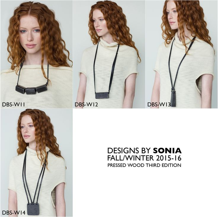 Wood and Pressed Brass Necklaces by Designs By Sonia