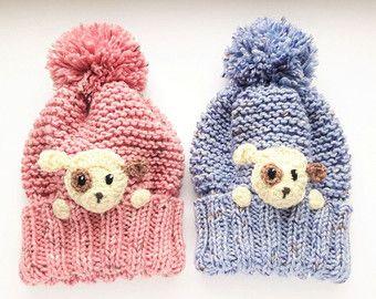 Teddy Bear Hat Toddler Winter Hat Kids Earflap Hat Pom by 2mice