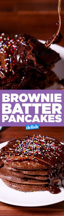 Brownie Batter Pancakes make dessert for breakfast totally acceptable. Get the recipe from Delish.com.