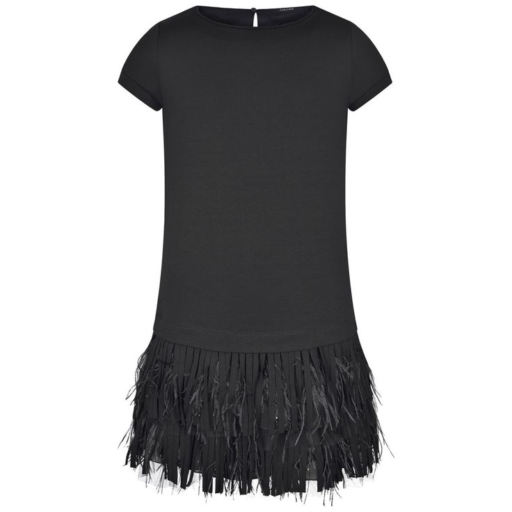 Monnalisa Jakioo Girls Black Milano Dress With Feather Skirt