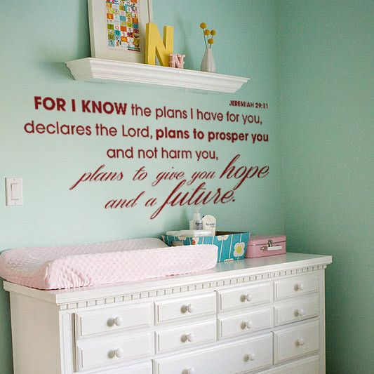 """Inspire with this bible verse in English: Jeremiah 29:11 """"For I know the plans I have for you, declares the Lord, plans to prosper you and not harm you, plans to give you hope and a future.""""  Size: 100cm wide x 45cm high"""
