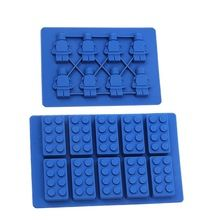 2 pcs/ensemble Carré Lego Jouet Brique Forme Silicone Ice Cube et Robot Bac À Glaçons Moule Gâteau Au Chocolat Moule Gâteau Ustensiles de Cuisson Gâteau outils(China (Mainland))