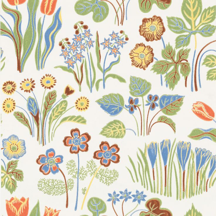Wallpaper Vårklockor  This pattern was originally designed by Josef Frank for Norrköpings Tapetfabrik (Norrköping's wallpaper factory) in the 1940s. Frank didn't believe in using the same pattern for both wallpaper and textiles and therefore designed 12 patterns exclusivley for wallpapers. Springbells is one out of 4 pattern that are in production today.