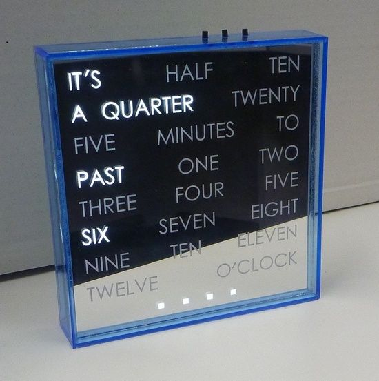 A unique clock that tells times in words instead of numbers. Cool idea for your dorm room at college!.