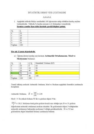 İstatistik Dersi Vize Soruları ve Çözümleri - A Grubu