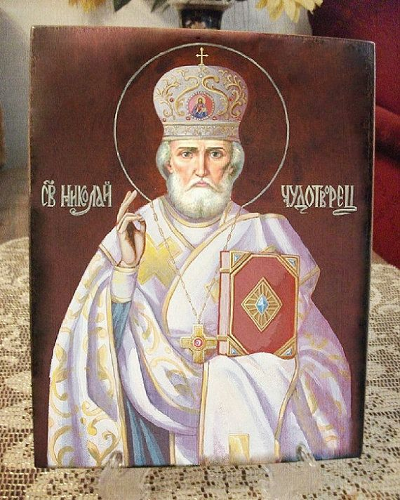 St Nicholas  icon hand-painted of hot colors от Iconikonaikone2014