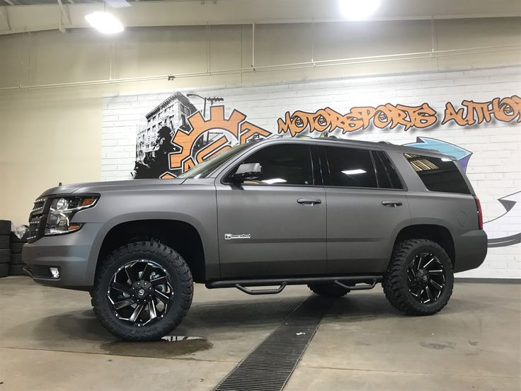 Custom Chevy Tahoe >> 2017 Tahoe wrapped in Avery Charcoal for Andrew Cashner ...