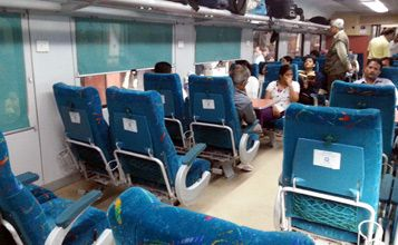 Interior of AC Executive chair car on the Jaipur - Delhi 'Shatabdi Express'