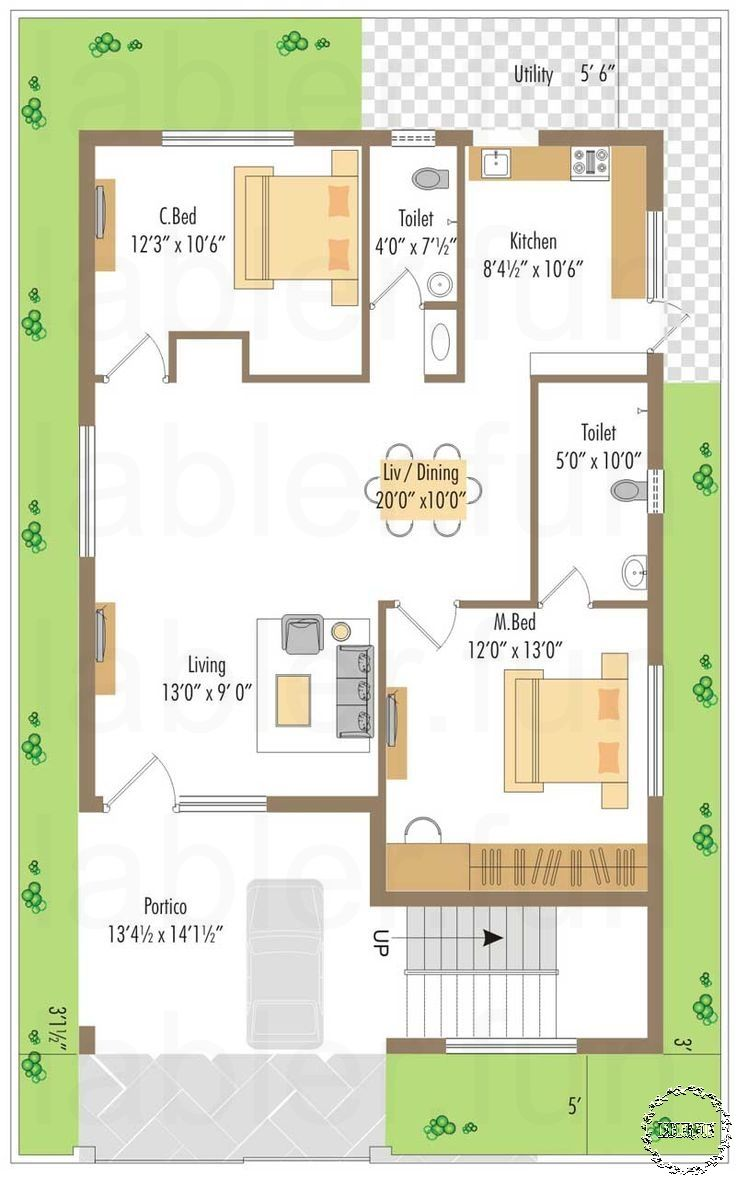 Small House Plans By Donald Gardner 2bhk House Plan Duplex House Plans 20x40 House Plans