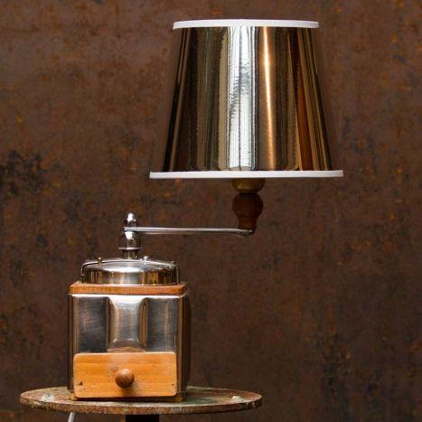 Great Lampe moulin caf et abat jour m tal et bois clair