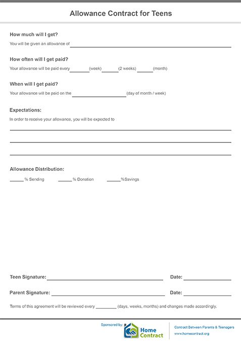 Allowance Contract for Teens