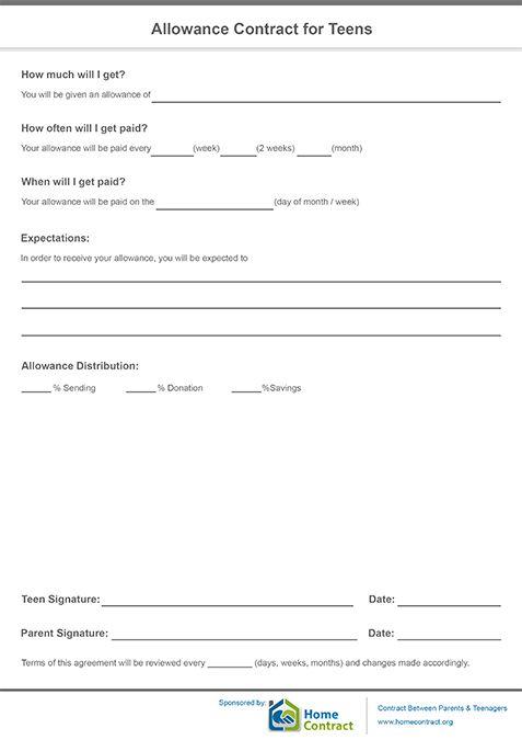 allowance contract for teens allowance contract pinterest teen. Black Bedroom Furniture Sets. Home Design Ideas