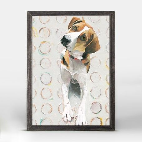 """""""Treat Please"""" Mini Framed Canvas from GreenBox Art + Culture. Size - 5''x7''. Rustic frame color is predetermined. We've got wall art for all ages and interests. Browse our entire collection of Mini Framed Canvas Wall Art for the home!"""