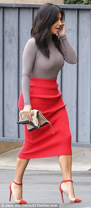 Wolford Colorado String Body Suit, T by Alexander Wang 2 Way Zip Long Skirt & Christian Louboutin Bis Un Bout Pumps
