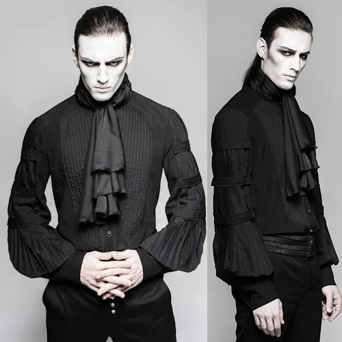 Black Long Sleeve Pleated Victorian Gothic Fashion Dress Shirts Men SKU-11407441