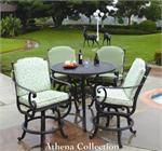 This patio bar table furniture set features a bar table with a fire pit in the middle. The Athena patio bar set will set the atmosphere for your outdoor living space. The center of the table can be used as a fire pit or as an ice bucket keeps drinks cold.