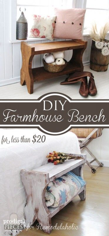 Build a farmhouse bench for less than $20 using our step-by-step tutorial by Prodigal Pieces www.prodigalpieces.com #prodigalpieces
