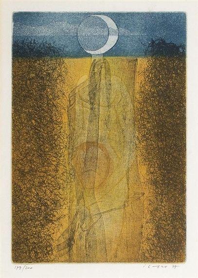 Artwork by Josef Istler, PASTÝŘKA OBRACEJÍCÍ SE K DUBNU, Made of etching