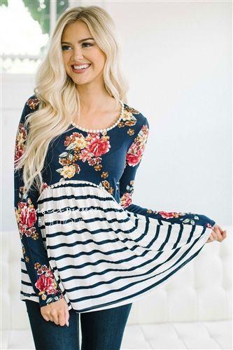Floral & Stripes Lace Trim Blouse