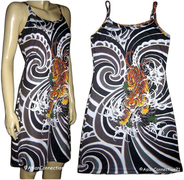 Tiger Irezumi Japanese Tattoo Japan Art Print Dress Misses S M L Xl  By P&N