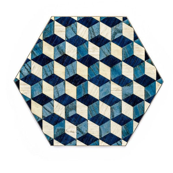 6 Blue White Placemats Heat Resistant Geometric Place mats Blue... (€56) ❤ liked on Polyvore featuring home, kitchen & dining, table linens, geometric placemats, colored placemats, blue placemats, blue table linens and heat resistant table mats