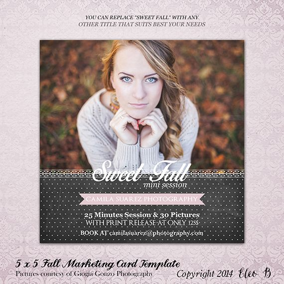 5x5 Photography Marketing Card Template - Fall Template - Photoshop Template - M014 - instant download  SHOP AT: etsy.com/shop/eleob SEARCH WITH THE CODE   Pictures by Giorgia Gonzo Photography  Model Mirela