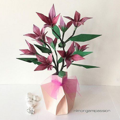 224 best origami bouquetsarrangements images on pinterest origami origami flower branch in origami vase available in shop on website mightylinksfo Gallery