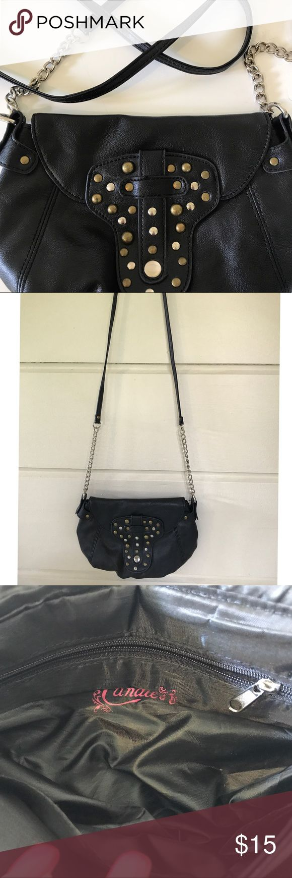 CANDIES CROSSBODY BLACK STUDDED PURSE CANDIES CROSSBODY BLACK STUDDED PURSE CANDIES Bags Crossbody Bags