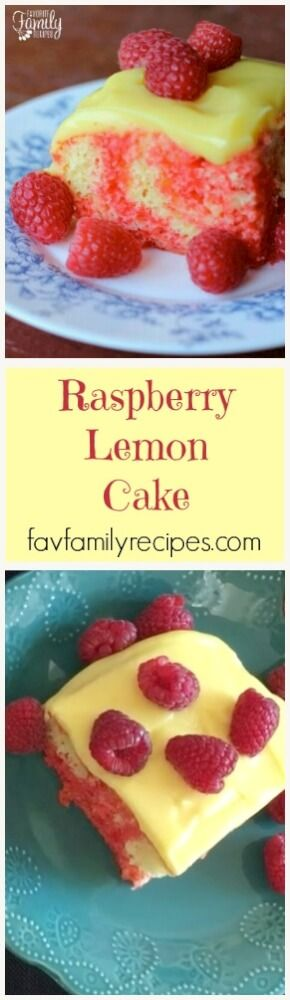 This Raspberry Lemon Cake with Jell-O gelatin and Jell-O pudding is cold, light, and refreshing - especially when served with fresh raspberries! via @favfamilyrecipz