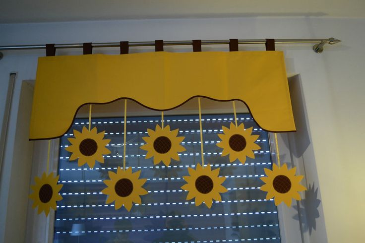 Vorhang Querbehang Fensterdeko Kinderzimmer Motiv gelb 140 - 180cm Handarbeit