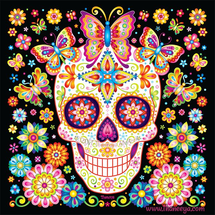 Sugar Skull W Butterflies Flowers From Thaneeya Mcardle S 2019 Sugar Skulls Calendar Colorful Skull Art Sugar Skull Art Sugar Skull Artwork