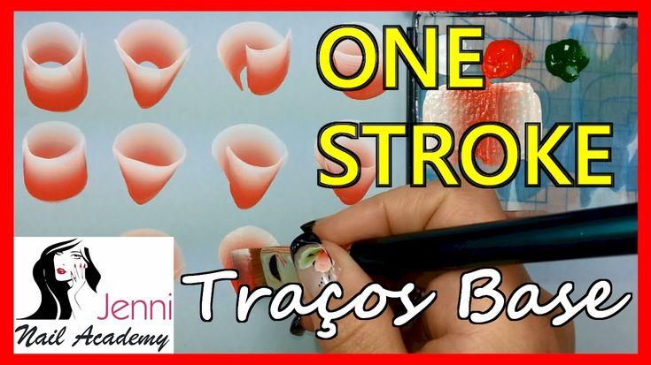 ONE STROKE - Nail Art - Unhas Decoradas - Traços Basicos Botao e Folha P...