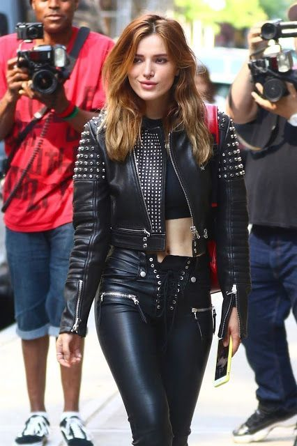 519b86e2f19a93 Bella Thorne in leather pants and a leather jacket | Lovely Ladies in  Leather | Bloglovin'