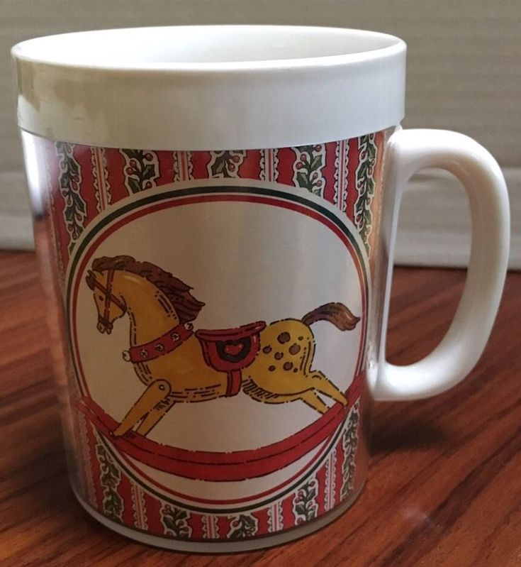 Vtg Thermo Serv Christmas Rocking Horse Red Green White Plastic Coffee Cup Mug
