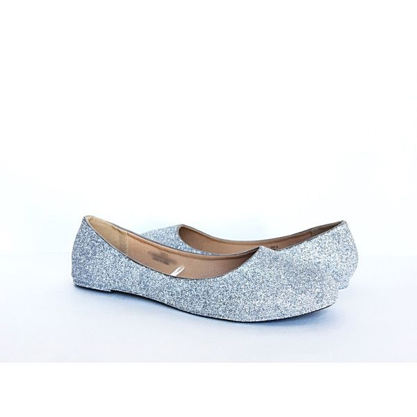 Silver Flats Glitter Shoes Grey Ballet Flats Sparkly Wedding Shoes... (£39) ❤ liked on Polyvore featuring shoes, flats, ballet shoes, silver, slip ons, women's shoes, flat wedding shoes, silver wedding shoes, silver sparkly flats and silver glitter flats