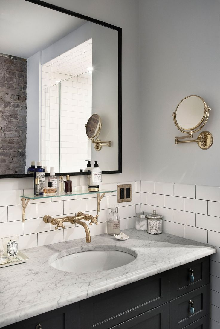 Simple beautiful Brooklyn bathroom with subway tile and gold hardware accents inspiration