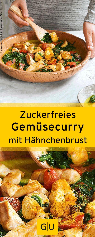 Einfaches Rezept für zuckerfreies Gemüsecurry mit Hähnchenbrust. Ihr findet e…