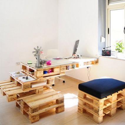 Muebles de oficina hechos con palets de madera originals for Muebles hechos de palets