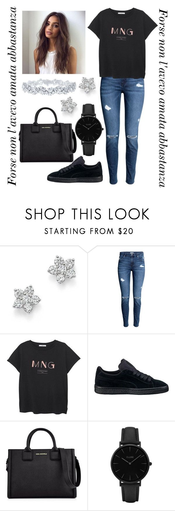 """""""#56"""" by mariangela06 ❤ liked on Polyvore featuring Bloomingdale's, H&M, MANGO, Karl Lagerfeld, CLUSE, Harry Winston, contest, firstdayofschool, polyvorecontest and WardrobeStaples"""
