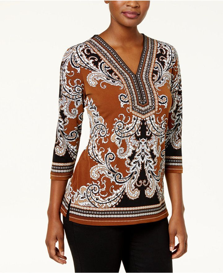 JM Collection Embellished Paisley-Print Top, Created for Macy's