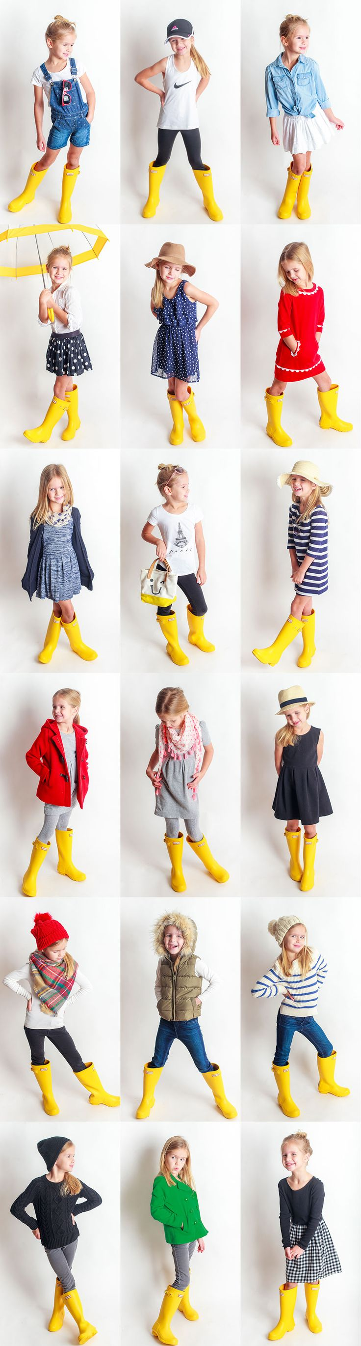Yellow Rain Boots Project! 18 Outfits with one pair of yellow rain boots!