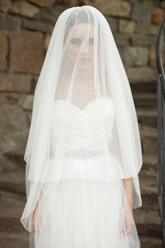 Pointée du doigt voile, voile de mariée avec voile de fard à joues, Swiss Dot voile, Double couche - Michele fait d