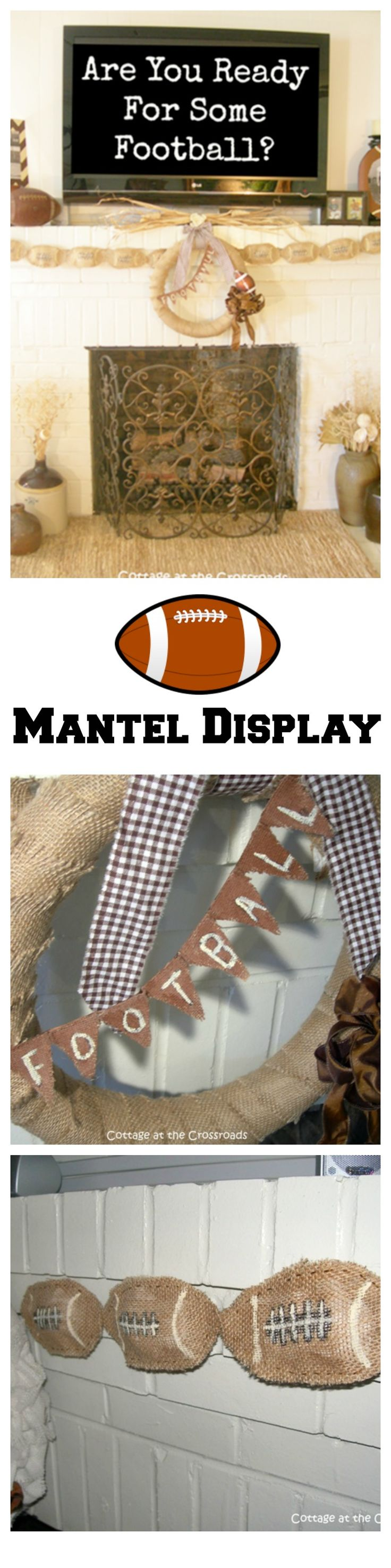 A fall football mantel display from the blog Cottage at the Crossroads
