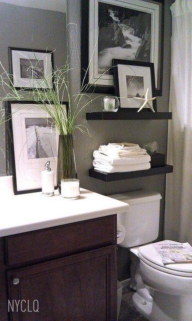Bathroom Decor Inspiration Shelves Over Toilet Black And White Prints Maybe Splash Of Color