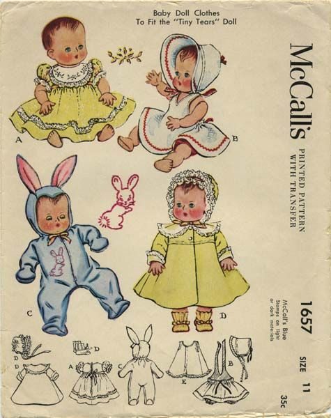 "Vintage Doll Clothes Sewing Pattern | Baby Doll Clothes to fit the Tiny Tears Doll | McCall's 1657 | Year 1951 | Doll Size 11 (Head 9-1/2"", Neck 5-1/8"", Chest and Waist 8-1/8"")"