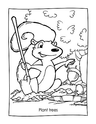 06 SquirrelPlant Earth DayColoring SheetsMother